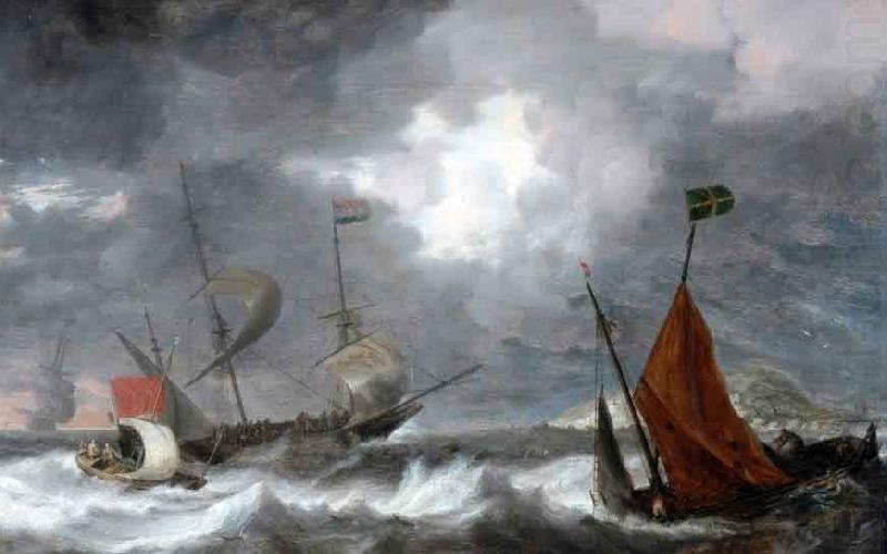 Sea storm with sailing ships, Bonaventura Peeters